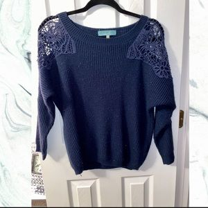 Blue Lace Sleeve Sweater